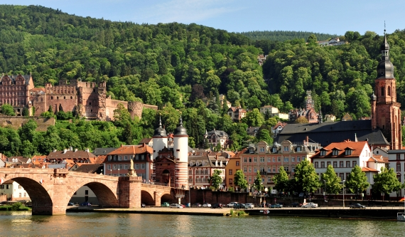 The old town of Heidelberg, viewed from across the River Necker, Germany