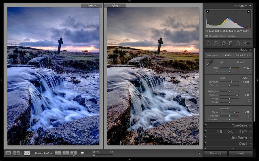 Photo before and after lightroom